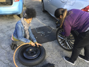 photo of adding air to a spare tire