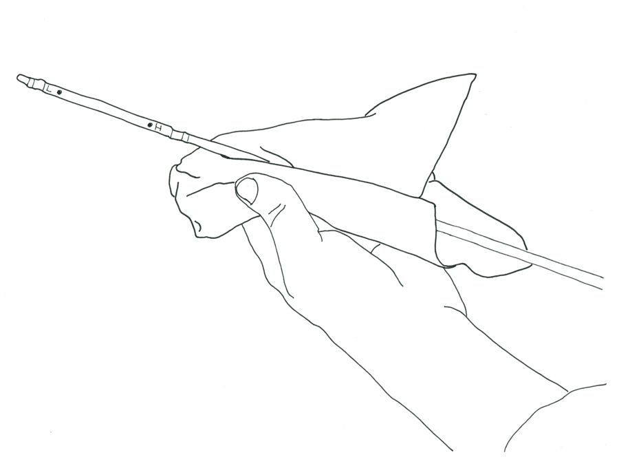 drawing of hand checking oil level